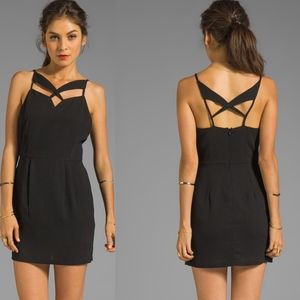 LINE & DOT Black Abstract Lattice Cut Out Dress